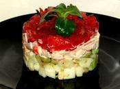 Méli-mélo d'avocat-pommes, tomates-basilic surimi