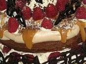 Gâteau chocolat meringué mascarpone, caramel fleur framboises