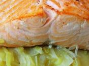 Saumon poêlé, fondue poireau crème raifort
