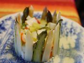 Charlotte d'asperge surimi basilic, vinaigrette l'orange