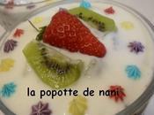 Verrines fromage blanc fraises-kiwi rose-géranium