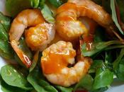 Salade tiède gambas jeunes pousses mandarine coriandre
