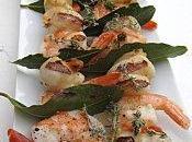 Brochettes noix Saint-Jacques crevettes fleur thym Fantaisie