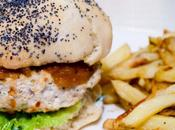 Burgers poulet, coriandre fraîche chutney mangue