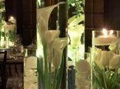 centres table avec fleurs immergées