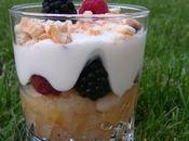 Verrine compote, fromage blanc fruits rouges