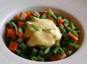 Salade tiède d'haricots verts, poulet carotte, sauce allégée l'estragon