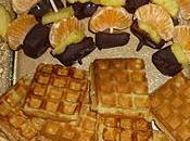 Brochettes fruits chocolat minis gaufres