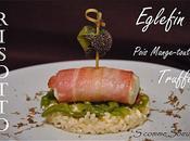 Recette Fêtes d'eglefin robe lard risotto truffé pois mange-tout