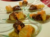 Cuillères apéritives foie gras poêlé clémentines