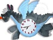 Horloge doudou dragon bleu gris