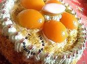 Gâteau abricots, créme calisson pistaches