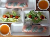 Rouleaux printemps saumon asperges vinaigrette mangue