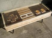 Table bois design forme paddle