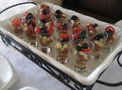 Verrines perles bocconcini, minis tomates pachino basilic pour buffets réceptions estivales