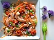 Salade estivale quinoa, crevettes marinées l'ail tomates cerise roties