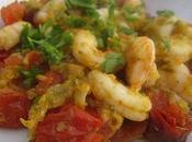 Crevettes sauce courgette tomates cerises