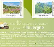 Collection 2012 timbres L'Auvergne comme j'aime
