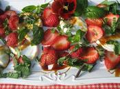 Mozzarella Bufflonne, basilic, fraises chocolat