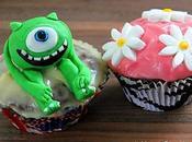 Cupcakes chocolat, glaçage mascarpone saveur banane (Disney Monters Razowski fleurs marguerites)