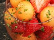 Verrine melon fraise basilic