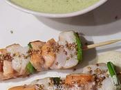 Brochettes mer, espuma wasabi mousse courgettes