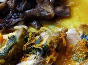 Filet mignon porc aubergines blanches, sauce orange, curcuma basilic