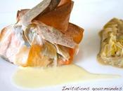 Croustillant saumon champignons sauce beurre blanc fondue poireaux