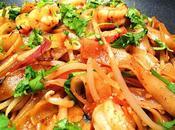 Pâtes sautées soja crevettes