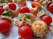 Brochette crevette avocat tomate cerise fois gras