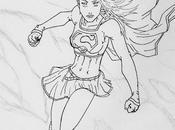 Dessin crayonné encré Super Girl.