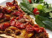 Pizza tomates rôties faux-mage noix d'acajou basilic tortilla