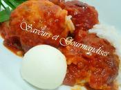 Boulettes Poulet Farcies Sauce Tomates.
