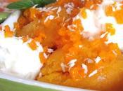 Sorbet carotte-pêche, brunoise carotte confite chantilly noix coco