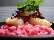 St-jacques roties risotto coulis betterave