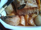 Carré porc confit miel épices, panais poires