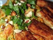 Curry lentilles corail petits légumes tofu frit... délice totalement Végan
