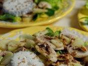 Salade pommes, chèvre, champignons pignons grillés