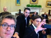 journalistes français prennent photo Maison Blanche
