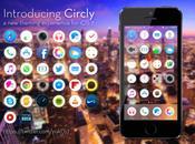 Circly pour iPhone, thème plat mais rond