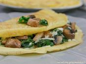 Crêpes salées farine pois chiche, épinards, champignons mozzarella