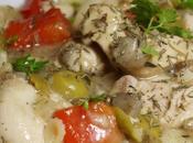 Sauté poulet poivrons, champignons olives