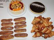 premier blanc.... tarte chocolat, charlotte eclair croissants