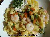gnocchi rigati crevettes, petits légumes crème saint-jacques