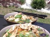 Bouillon d'imitation asiatique, légumes poulet grillé