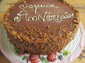 Gâteau d'anniversaire: Entremet multi-couches gianduja, insert lait d'amandes, dacquoise noisette crème citron chocolatée