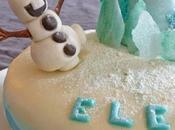 Gâteau reine neiges avec Elsa Olaf pâte sucre (gâteau damier chocolat/vanille)