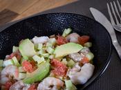 Quinoa avocat, pamplemousse, crevettes