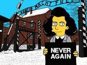 Never Again artiste italien imagine Simpson Auschwitz