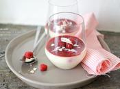 Panna cotta chocolat blanc, rose framboises